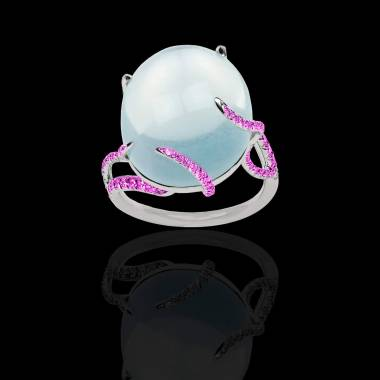 月之石 粉红蓝宝石戒指