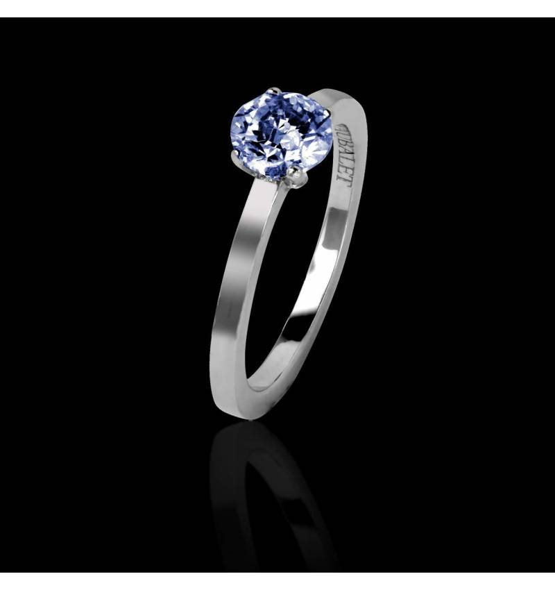 Judith Solo 白18K金单颗蓝宝石戒指