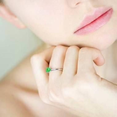 Valentina K金单颗祖母绿戒指