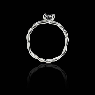 绫绕 K金单颗黑钻戒指