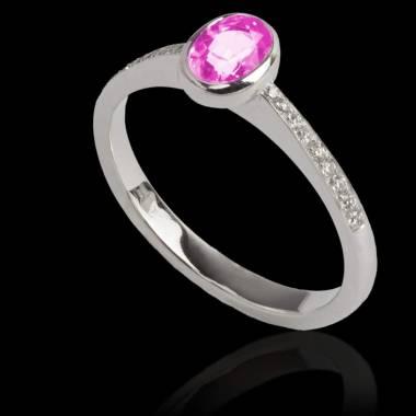 Ovale Moon 粉红蓝宝石戒指