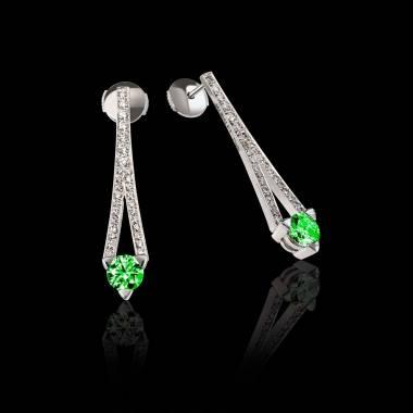满月 祖母绿耳环