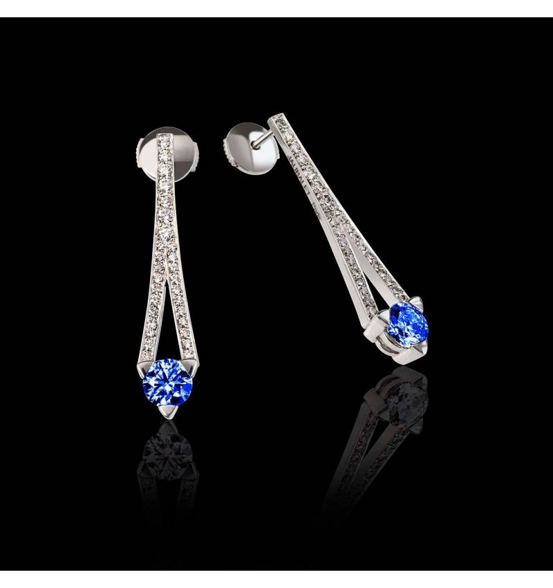 满月 蓝宝石耳环
