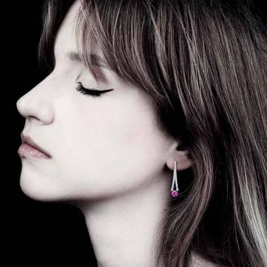 满月 粉红蓝宝石耳环