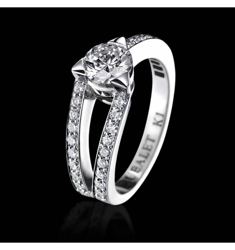 Plena Luna 白18K金戒指 群镶钻石