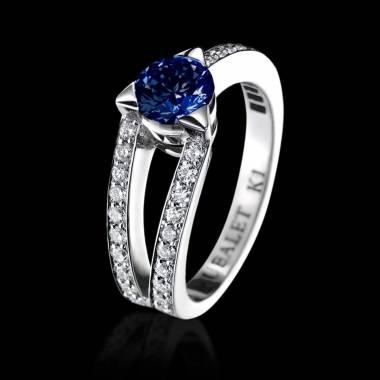 Plena Luna 白18K金 蓝宝石订婚戒指 群镶钻石