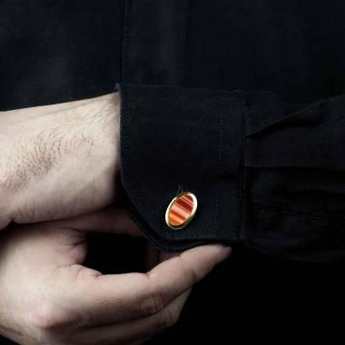 勋章袖扣 镀金卵形玛瑙刻字