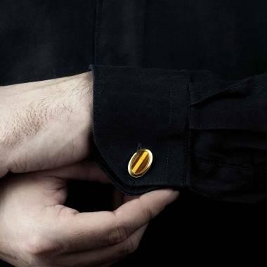 Boutons de manchette chevalière Ovum oeil de Tigre or jaune vermeil