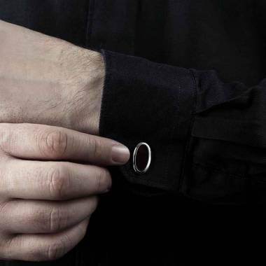 勋章 马眼形缟玛瑙刻字袖扣
