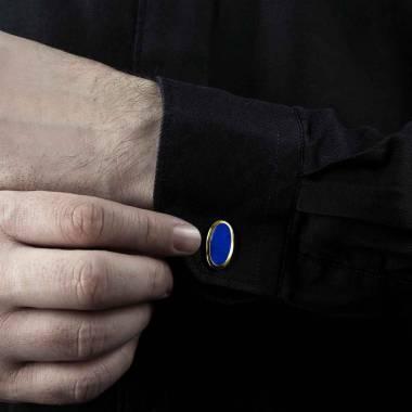 Boutons de manchette chevalière Ellipsis Lapis Lazuli or jaune vermeil