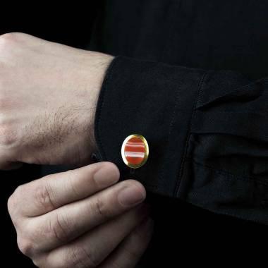 勋章 椭圆形玛瑙印字镀金袖扣