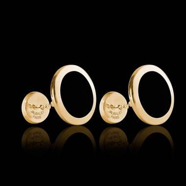 Boutons de manchette chevalière Ovalis Onyx or jaune vermeil