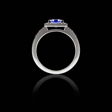 佩兰 蓝宝石订婚戒指