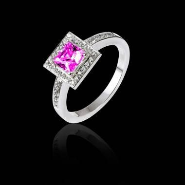 佩兰 粉红蓝宝石订婚戒指