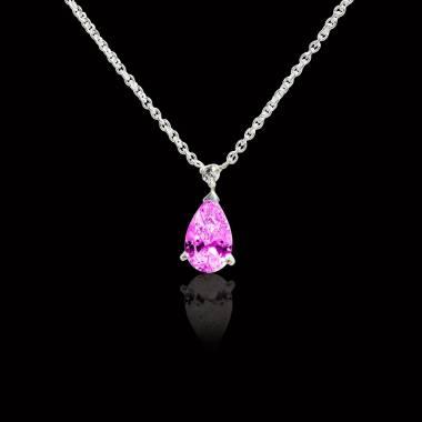 水滴之爱 粉红蓝宝石项链