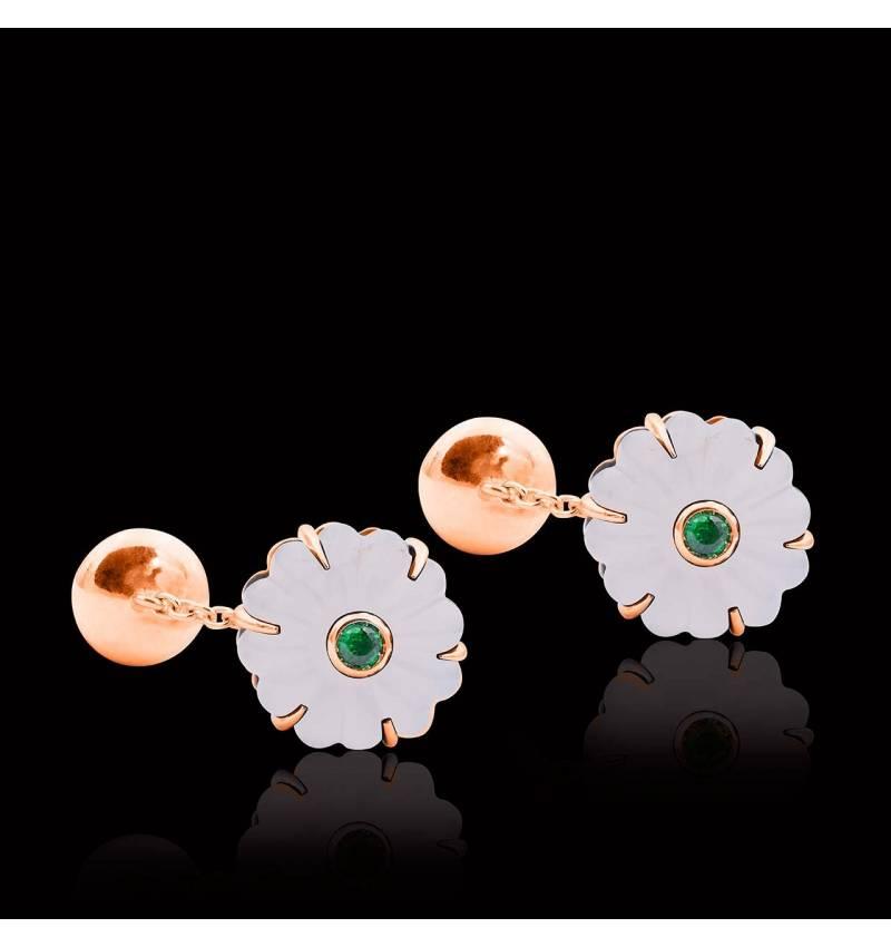 Boutons de manchette or rose vermeil cristal de roche Bellis