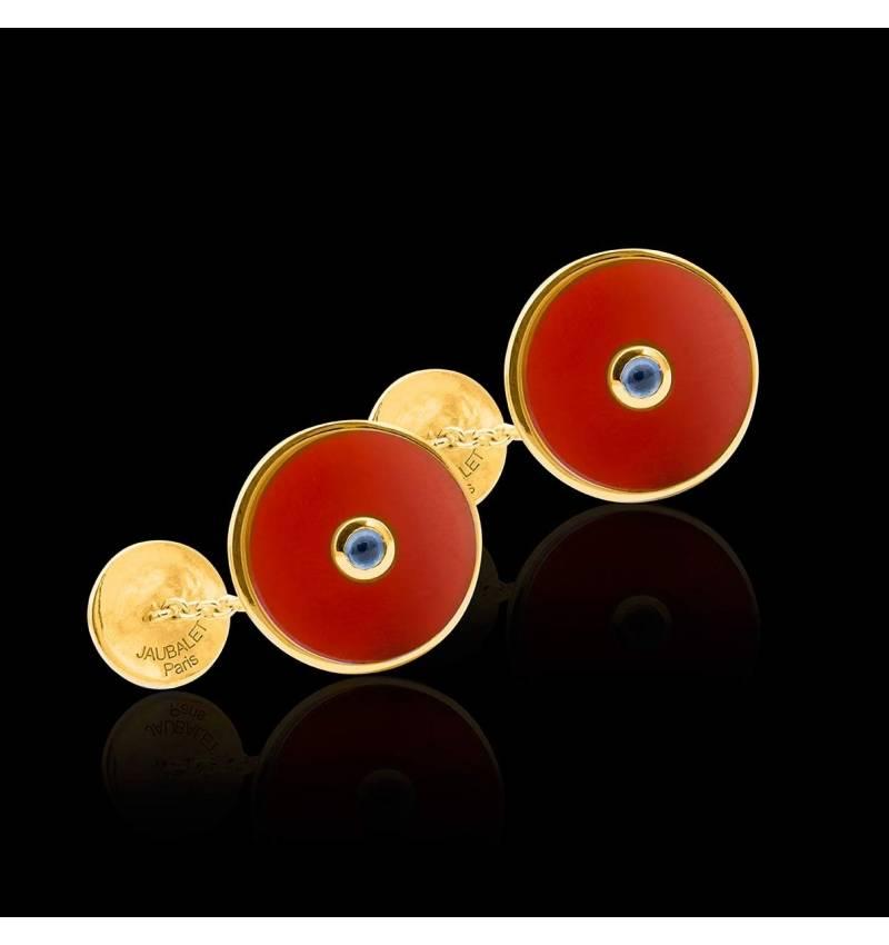 Boutons de manchette or jaune vermeil cornaline Circus