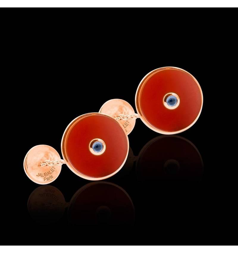 Boutons de manchette or rose vermeil cornaline Circus