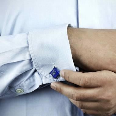 Boutons de manchette argent palladié lapis lazuli Crustulum