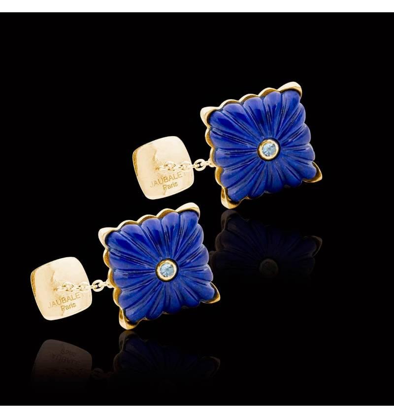 Boutons de manchette or jaune vermeil lapis lazuli Crustulum