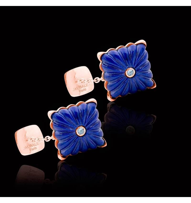 Boutons de manchette or rose vermeil lapis lazuli Crustulum