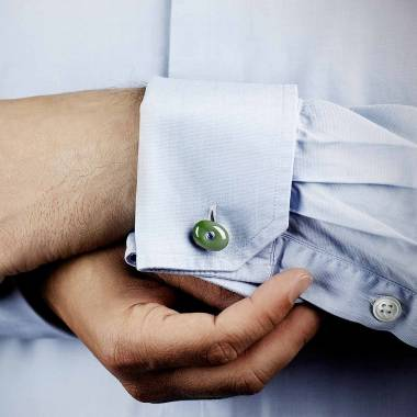 Boutons de manchette argent palladié jade Orbis