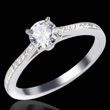 Elodie钻石白18k金戒指 钻石群镶