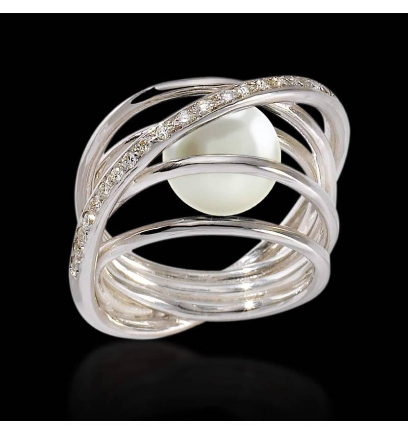 Cache白珍珠K金戒指