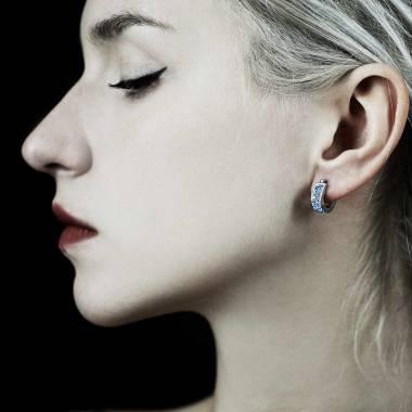Boucles d'oreilles saphir bleu Fuseaux