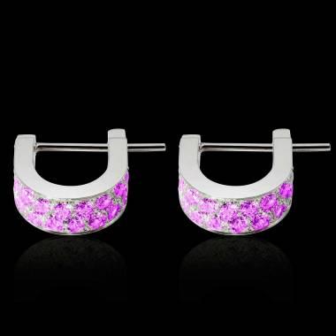 Boucles d'oreilles saphir rose Fuseaux