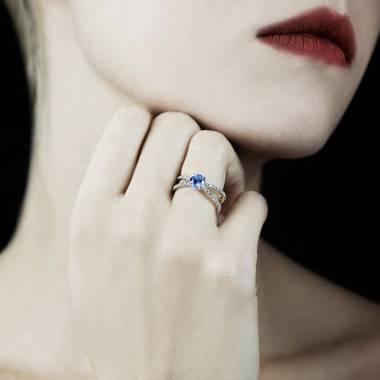 Bague saphir bleu Amandine