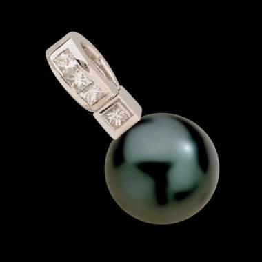 波拉公主大溪地黑珍珠镶嵌钻石吊坠