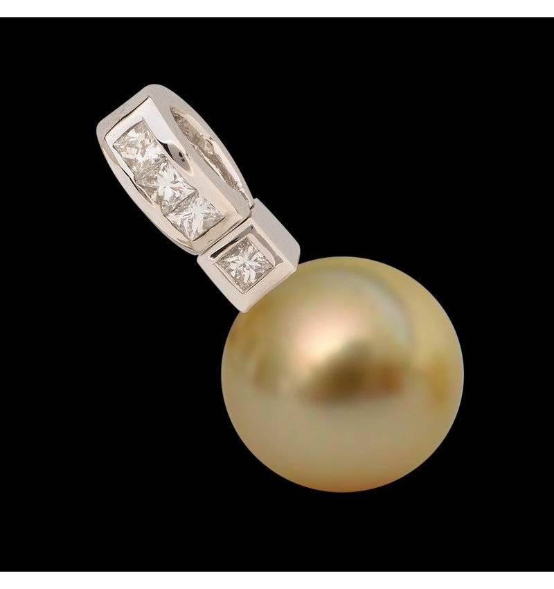 波拉公主金珍珠镶嵌钻石吊坠