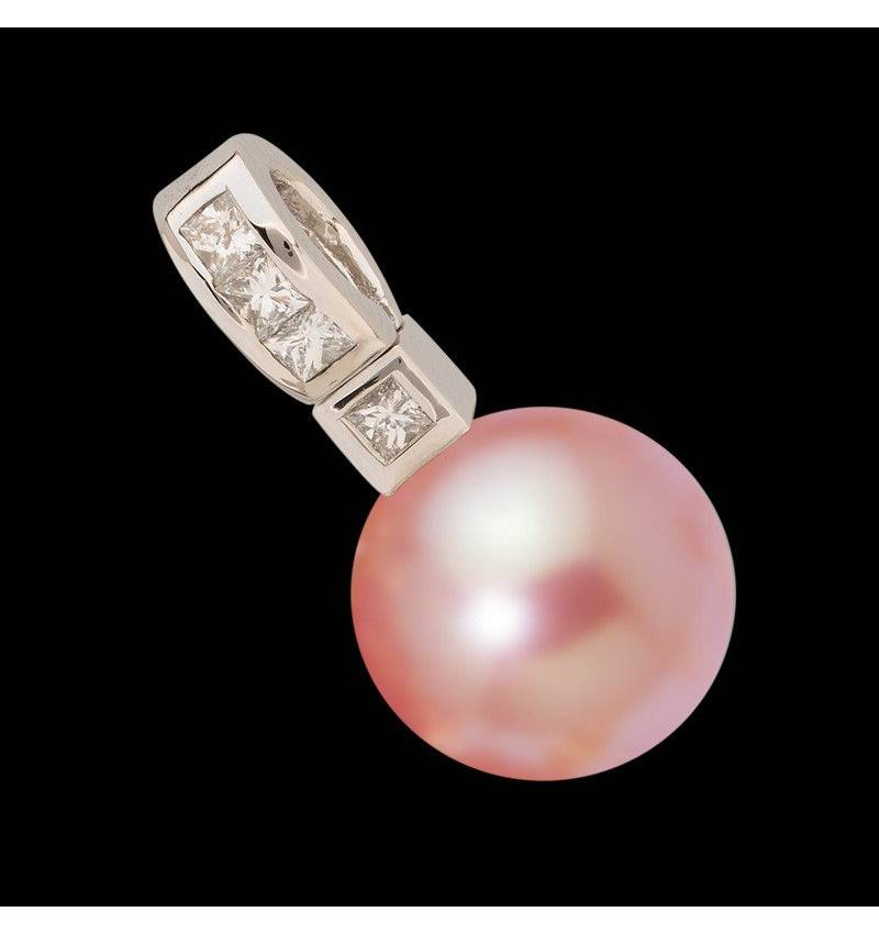 波拉公主粉珍珠镶嵌钻石吊坠