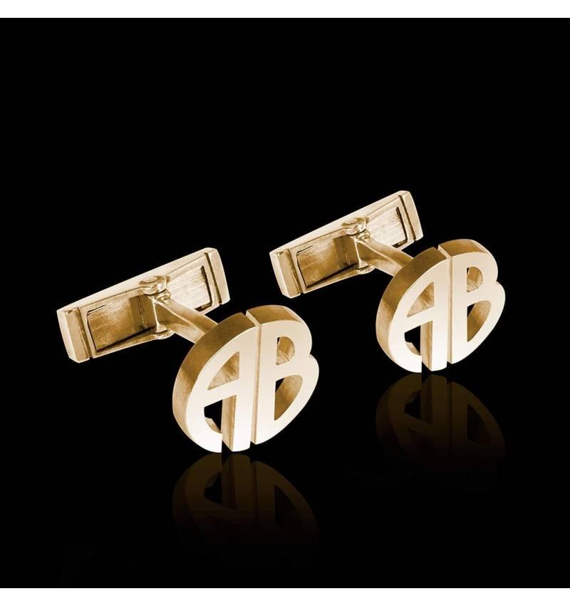 字母 18K黄金袖扣