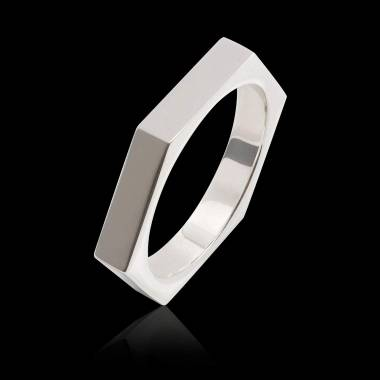 Bague homme or blanc Kevin