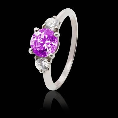 奈拉 粉红蓝宝石K金订婚戒指