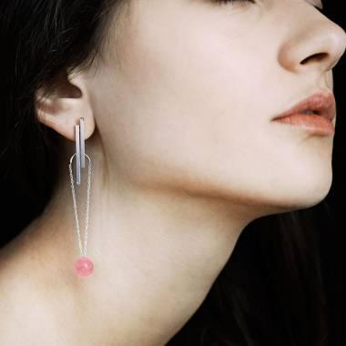 Boucles d'oreilles Art déco chaîne perle rosée