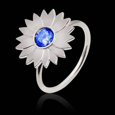 Bague saphir bleu Marguerite Solo