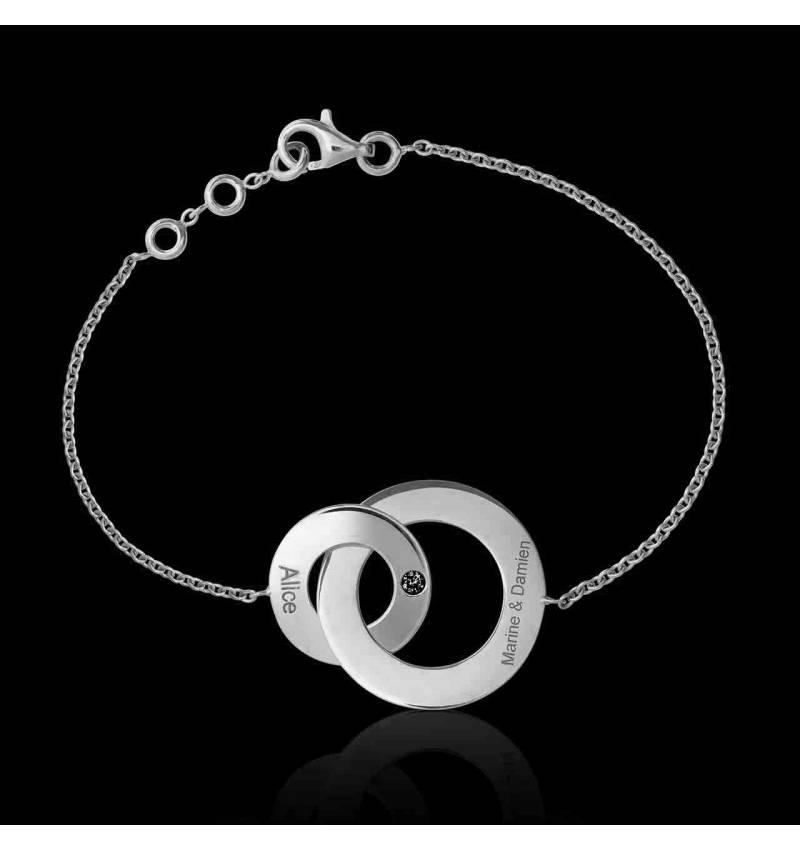 Bracelet diamant noir Double Anneau