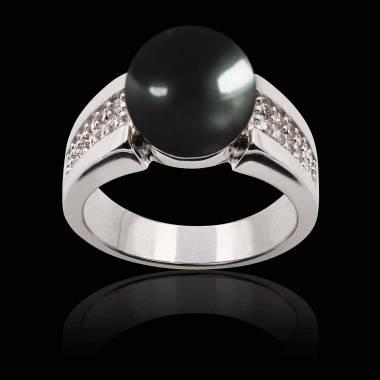 Bague perle Tahiti noire Aya