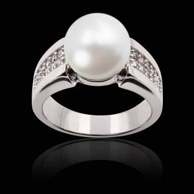 Bague perle blanche Aya