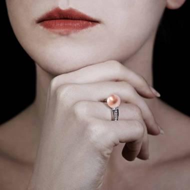Bague perle rosée Melina