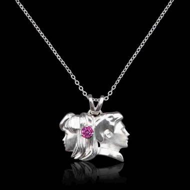 Pendentif saphir rose Gémeaux