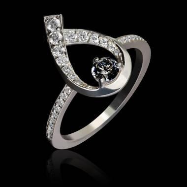 Bague diamant noir Flamme