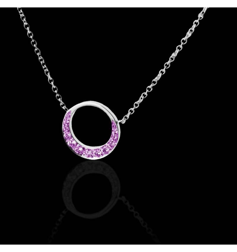 月光粉红蓝宝石项链