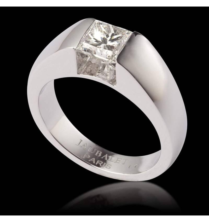 Pyramide单钻白18K金订婚戒指