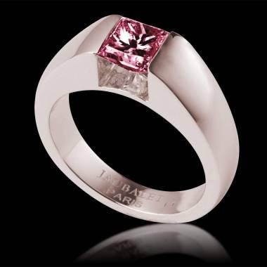 Pyramide白18K金单颗红宝石订婚戒指